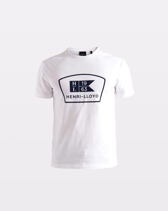 Miesten valkoinen t-paita printtilogolla