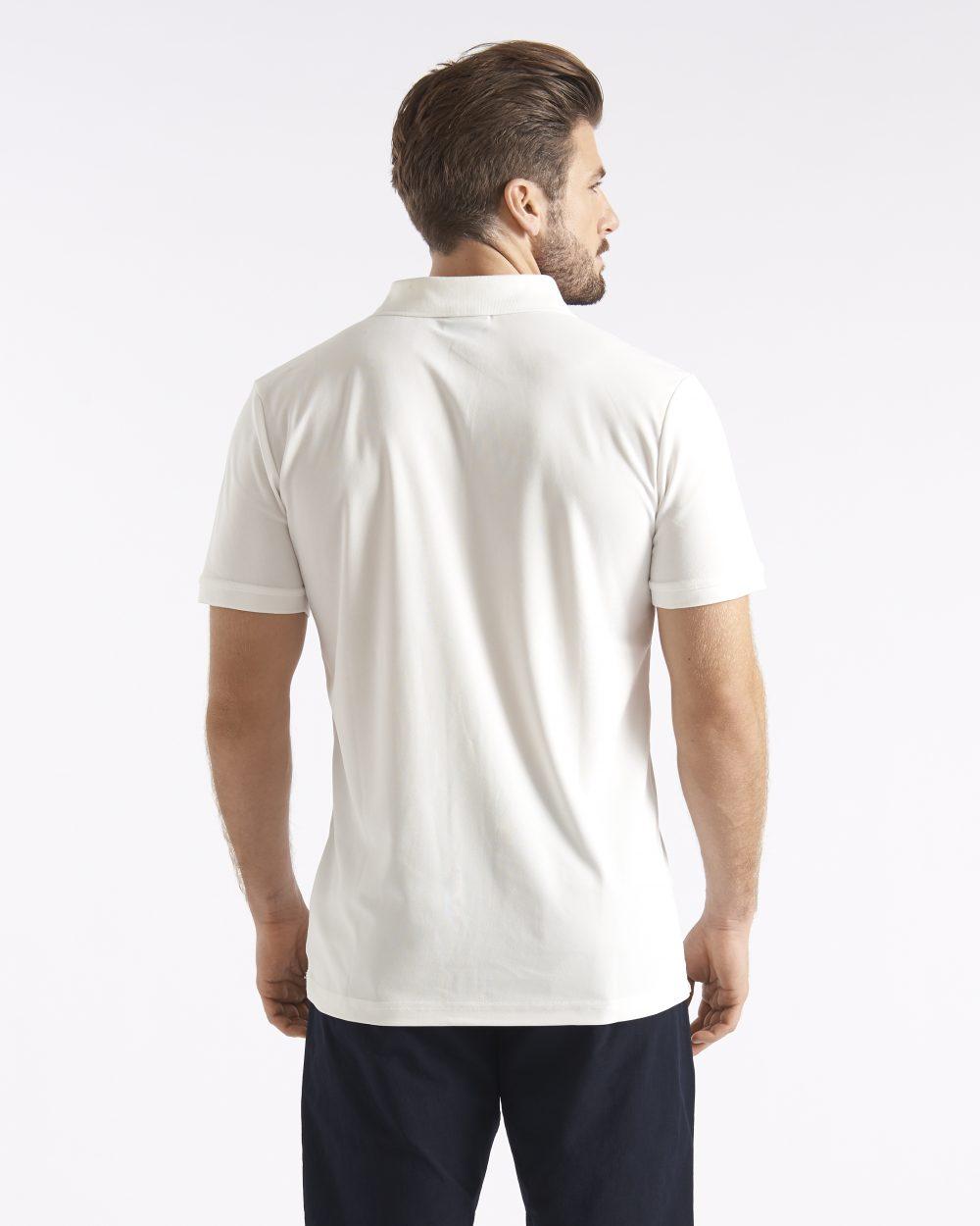 Miesten valkoinen tekninen pikeepaita takaapäin
