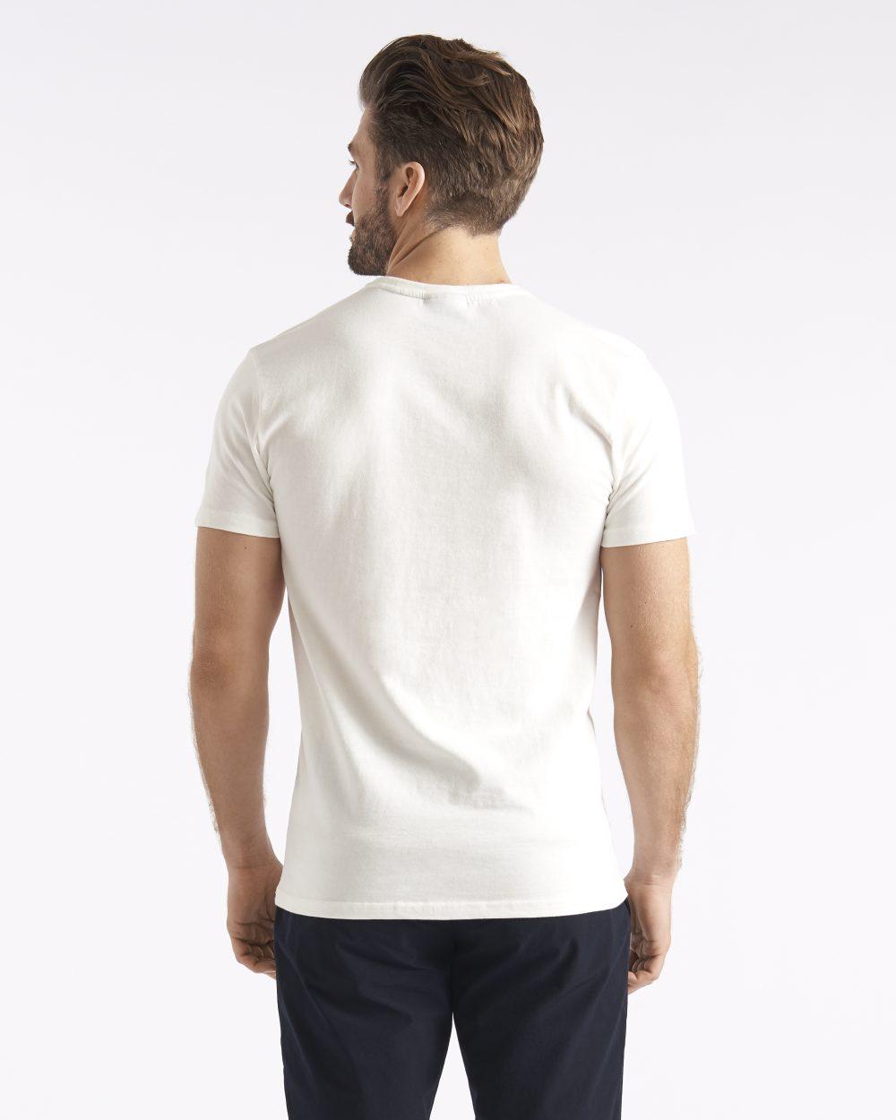 Miesten valkoinen puuvillainen t-paita takaapäin