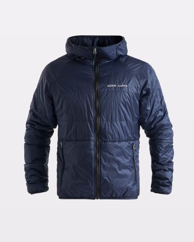 Miesten hupullinen teknistä untuvaa oleva sininen takki